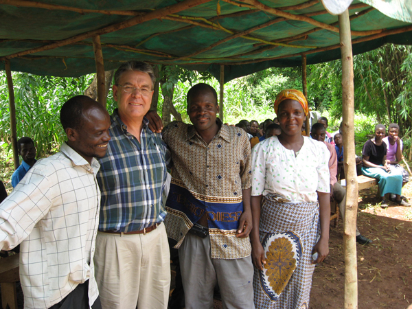 Ted with 2 Pastors and female area chief Malawi