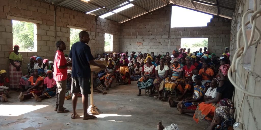The teaching work goes on in the half-completed church